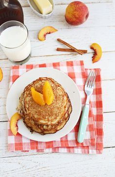 Peaches + Ricotta Pancakes (scroll down for print recipe link)
