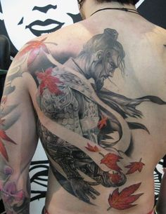 Japanese, Afro and Geisha Samurai Tattoo Designs, Meanings and Ideas. Awesome traditional Samurai tattoos for your sleeve, chest or other body parts. Asian Tattoos, Back Tattoos, Great Tattoos, Future Tattoos, Beautiful Tattoos, Body Art Tattoos, Tattoos For Guys, Men Tattoos, Tattoo Girls