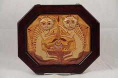 Mexican Nagual Hanging Ceramic/Wood Frame Folk Art Collectible Pablo Pajarito 1