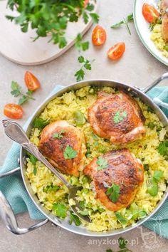 Anyżkowo: Paella z pieczonym kurczakiem Paella, Risotto, Curry, Bob, Chicken, Meat, Cooking, Breakfast, Ethnic Recipes