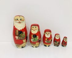 Vintage Father Christmas Russian dolls, Santa stacking dolls, Vintage Christmas Decorations by Seekandchic on Etsy Father Christmas, Santa Christmas, Vintage Christmas, Luggage Labels, Antique Metal, Vintage Santas, Oil Lamps, Flower Vases, Vintage Decor