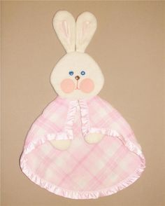 Fisher Price White Bunny Rabbit Pink Plaid Security Blanket Lovey 1979 Vintage #FisherPrice
