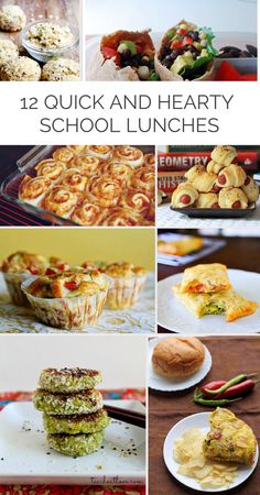 Quick hearty school lunch ideas (no sandwiches!) that can be made ahead. Freeze/refrigerate and pop them out to reheat for a satisfying lunch! #kidslunch #schoollunch #back to school.