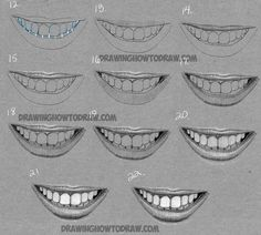 how to draw realistic mouths and teeth