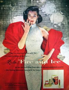 1952 Revlon Fire & Ice Beauty Ad Vintage Hollywood Glamour Diamonds Dorian Leigh Fashion Makeup Vanity Powder Room Bathroom Wall Art Decor - make up room studio Vintage Makeup Ads, Vintage Nails, Retro Makeup, Vintage Beauty, Vintage Fashion, Fifties Fashion, Vintage Perfume, Vintage Glamour, Vintage Style