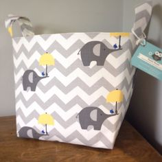 Our fabric storage baskets are lovingly handmade in this beautiful elephants fabric and lined with a coordinating lemon fabric. Perfect for
