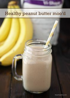 """Body by Vi Shake Recipe ~ """"Healthy Peanut Butter Moo'd"""". If you like the Peanut Butter Moo'd from Jamba Juice, you'll love this! Raspberry Smoothie, Smoothie Drinks, Healthy Smoothies, Healthy Drinks, Healthy Snacks, Juice Smoothie, Peanutbutter Smoothie Recipes, Peanut Butter Smoothie, Healthy Peanut Butter"""
