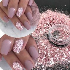 Top Popular Best Sales Chunky Mixed Fairy Face Body Craft Rose Sequins Manicure Rose Gold Glitter for Nail Decoration Rose Gold Nails, Pink Nails, My Nails, Mauve Nails, Pink Sparkle Nails, Black Nails, White Nails, Nails With Gold, Vegas Nails
