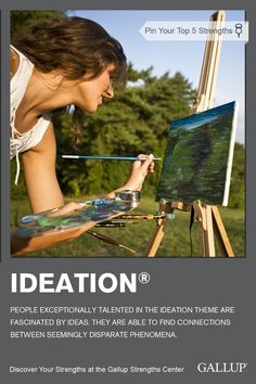 Being spontaneously creative and fascinated by new ideas are signs of the Ideation strength. Discover your strengths at Gallup Strengths Center. http://www.gallupstrengthscenter.com