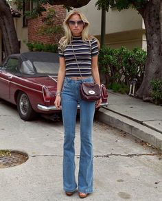 Claartje Rose, Dutch Blogger, 70's fashion, stripes, flared trousers pinterest: DessertFirst