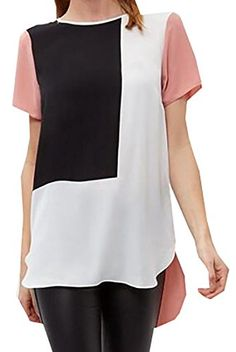 7d62cb51b9998 OULIU Womens Color Block Short Sleeve Loose Chiffon Top Shirt Pink XL      Details can be found by clicking on the image.Note It is affiliate link to  Amazon.