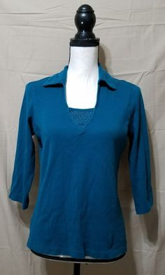 30eaebc4fc8c0 GEOFFREY BEENE SPORT Teal 3 4 Sleeve Beaded Top Shirt Womens M VGUC FREE  SHIP  GeoffreyBeene  KnitTop  Casual