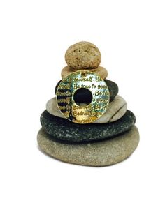 Be True to Yourself Rock Cairn Zen Garden by CedarwoodCreations