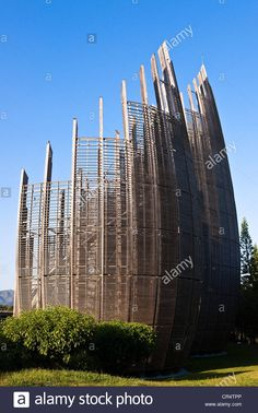 France, Nouvelle Caledonie, Noumea, Tjibaou Cultural Center, concept by the architect Renzo Piano - Stock Image