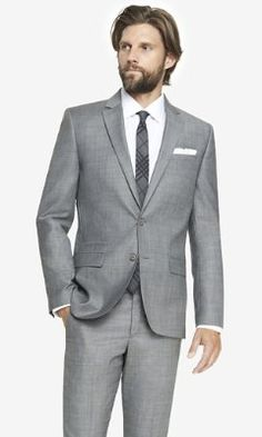 micro twill photographer suit jacket from EXPRESS.  I like this color better but don't know if hit is too light?