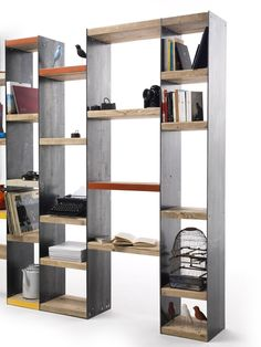 Buy online Moby By vontree, open double-sided sectional spruce bookcase