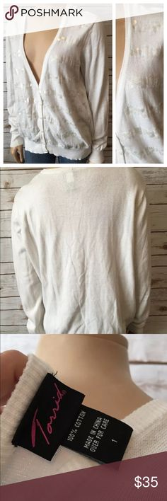 """Torrid Cardigan Sweater size 1 White Sequins 14 16 Tag Size - 1 Bust Measured Across - 25"""" Length from Shoulder to Hem - 27"""" Good used Condition torrid Sweaters Cardigans"""
