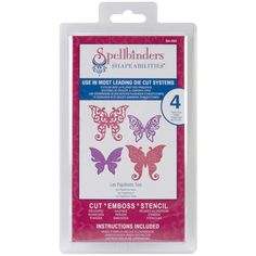 @Overstock - Spellbinders Shapeabilities Dies-Les Papillions 2 - Shapeabilities can be used in most leading die-cut machines and can virtually do it all! Cut beautiful embossed die cuts or stencil through the die for added impact. This package contains Les Papillions 2: four dies of assorted shape and size.    http://www.overstock.com/Crafts-Sewing/Spellbinders-Shapeabilities-Dies-Les-Papillions-2/7995479/product.html?CID=214117  $19.99
