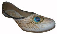 Handmade Leather Bridal Shoe White Mojari by handcraftedluxury