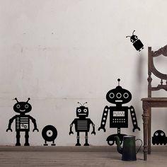 robot wall sticker pack two by snuggledust studios | notonthehighstreet.com