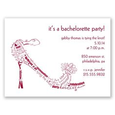 Bachelorette Shoe Party Invitation by David's Bridal #bacheloretteparty #invitation #davidsbridal