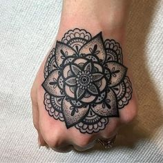 50 of the Most Beautiful Mandala Tattoo Designs for Your Body & Soul - Tinte - Mandala Tattoo Sleeve Women, Dotwork Tattoo Mandala, Mandala Hand Tattoos, Side Hand Tattoos, Hand Tats, Hand Tattoos For Women, Sleeve Tattoos For Women, Back Tattoos, Tatoos