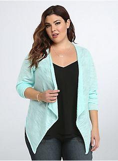 """<p>What's in a name? Everything, with this lightweight open cardigan! The title truly says it all; the breathable and sheer turquoise slub knit is a lightweight substitute for your heavier knits. With a rolled hem and a draped front that lends movement to any outfit.</p><p></p><p><b>Model is 5'9"""", size 1</b></p><ul><li>Size 1 measures 31 1/4"""" from shoulder</li><li>Rayon/polyester</li><li>Wash cold, dry flat</li><li>Imported plus size cardigan</li></ul>"""