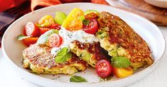 Serve these golden fried zucchini, haloumi and brussels sprout fritters with a dollop of herbed yoghurt and fresh tomato salad.