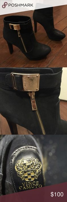 Vince Camuto bootie heels Worn once. Surprisingly comfy. Size 5.5-6. Smoke free & pet free home. Thanks for looking! Vince Camuto Shoes Ankle Boots & Booties