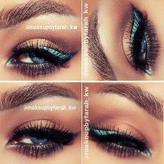 the tiffany eyeliner look from makeupbyfarah_kw, used coastal scents eyeshadows and sleek dip it liquid liners in black and tiffany, eyebrows are madly yours mascara and makeip forever aqua brow Gorgeous Makeup, Pretty Makeup, Love Makeup, Makeup Art, Beauty Makeup, Makeup Looks, Beauty Tips, Awesome Makeup, Beauty Stuff