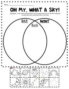 """Oh, My What a Sky!"" / Day & Night Sky Venn Diagram Picture Sort (from Class of Kinders on TpT)"