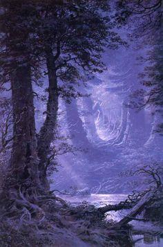 Moonlight over Neldoreth The Silmarillion Tolkien Illustration Ted Nasmith Tolkien, Fantasy Kunst, Fantasy Art, Fantasy Forest, Beautiful World, Beautiful Places, Fantasy Landscape, Middle Earth, Fantasy World