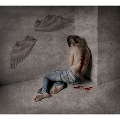 Designer Clothes, Shoes & Bags for Women Photo Triste, Fallen Angel Wings, Fallen Angels, Angel Aesthetic, Sad Art, Dark Photography, Angels And Demons, Angel Art, Cute Love