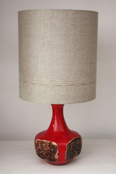 red retro vintage lamp with linen shade