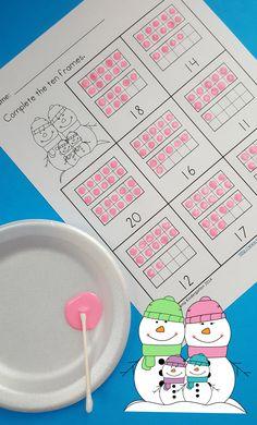 Engaging Winter Tricky Teen Practice for Your Little Learners!  Dot Paint Ten Frames with a Cotton Swab!  $   #numbersense #trickyteens #wintermathactivites #wintermath  #kampkindergarten #dotpainting #tenframes  https://www.teacherspayteachers.com/Product/Winter-Ten-Frames-No-Prep-Printables-Quantities-of-11-20-1611134
