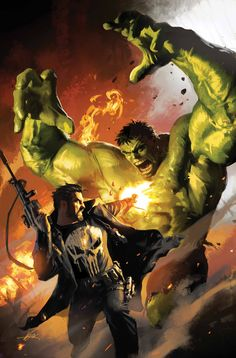 Michael Komarck - Hulk vs Punisher Comic Art. The Hulk is impervious to bullets, so I'm wondering what Castle has in store for him? I may need to pick up this issue.
