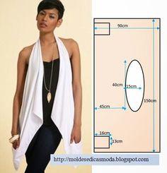 Este colete assimétrico faz as delicias de muitas mulheres que gostam de vestir simples. O corte e costura deste modelo é de grau de dificuldade muito baixo