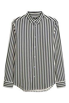 Normál fazonú ing - Fekete/fehér csíkos - FÉRFI | H&M HU