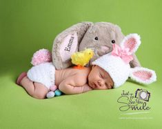 Newborn Bunny Hat and Diaper Cover by MadhatterknitsCo on Etsy