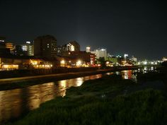 Kamo River at night, Kyoto, Japan
