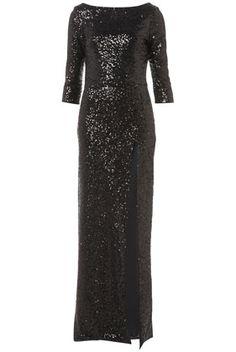 Black sequin long sleeve maxi dress