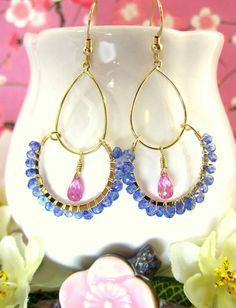 Pink and blue gold hoop bohemian earrings by KBlossoms on Etsy, $45.00