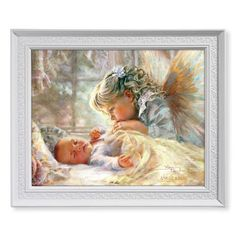 Angel Kisses - Sweet Angel Watching Over Baby Framed Print Under Glass