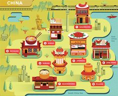 Food Maps for Delta Sky on Behance North Asia, Food Map, China Map, Travel Illustration, Map Art, Travel Around The World, Game Design, Art Direction, Pattern Design