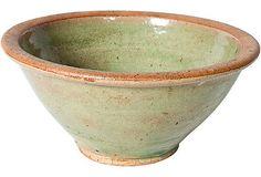 Vintage celadon ceramic bowl.