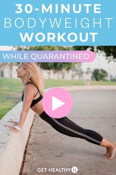 Get a full body workout with this at-home Bodyweight HIIT Workout with NO EQUIPMENT!! This 30-minute bodyweight workout adheres to a typical Tabata HIIT style workout: working intervals of 30 seconds followed by 10 seconds of rest! Grab your sweat towel and water bottle, press 'play' and follow along with this guided workout video. Beginner Workout At Home, Step Workout, 30 Minute Workout, Total Body, Full Body, 10 Seconds, Body Workouts, Tabata, Workout Videos