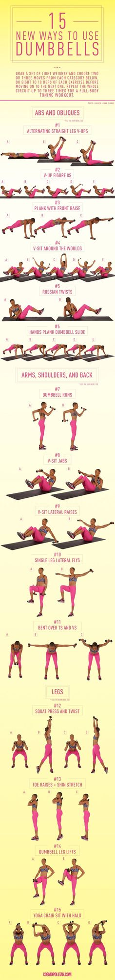15 New Ways to Use Dumbbells- It is certified fitness instructor and sports performance coach, to build a DIY dumbbell workout that targets the body parts you want to tone.