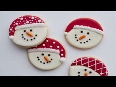 Watch this step-by-step video and see how easy it is to turn cookies into adorable snowman treats. Snowman Cookies, Christmas Sugar Cookies, Holiday Cookies, Christmas Desserts, Christmas Treats, Christmas Baking, Roll Out Sugar Cookies, Sugar Cookie Royal Icing, Iced Cookies