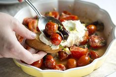 Lightly Roasted Tomatoes with Ricotta with Mint