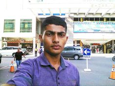 """Took this selfie while I was standing in front of a shopping mall named """"NAGOYA HILLS SHOPPING MALL"""" in Batam..."""
